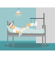 Man with broken leg and hand in Hospital vector image