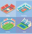sport stadium flat isometric icon set vector image