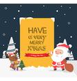 Merry Christmas greeting cardSanta and reindeer vector image