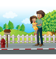 A father and a daugther at the road vector image vector image