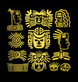 tribal face drawings set golden symbols vector image