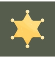 Blank golden sheriff star isolated on dark vector image