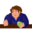 Cartoon sad man torso in blue top with apple vector image vector image