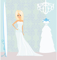 bride at the salon in wedding dress vector image