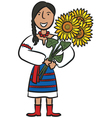 Ukrainian Girl With Sunflowers vector image vector image
