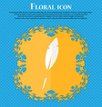 Feather sign icon Retro pen symbo Floral flat vector image