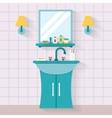Bathroom sink with mirror vector image