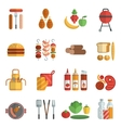 Bbq party flat icons set vector image