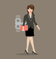 Business woman with wind up key in her back vector image