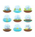 cartoon energy generation color icons set vector image