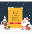 Merry Christmas greeting cardSanta and reindeer vector image