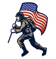 military soldier carrying the united states flag vector image