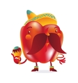 Red bell pepper character with thick moustache and vector image