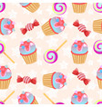 seamless pink pattern little delicious cupcake and vector image
