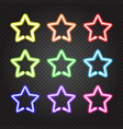 Set of glowing neon lights colorful stars vector image