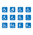 handicap icons disabled people vector image