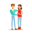 happy young pregnant couple colorful characters vector image