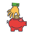 money pig savings happy piggy bank hand put vector image