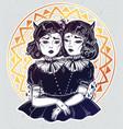 Evil siamese twins female demon portriats vector image