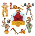 Circus vintage colored icons set vector image