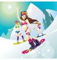 girl snowboard bikini vector image vector image