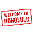 welcome to Honolulu red grunge square stamp vector image