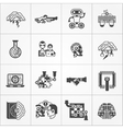 Artificial Intelligence Black White Icons Set vector image