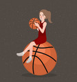 basket ball hold by beautifull girl woman sport vector image