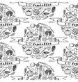 Doodle seamless pattern I love Vegetables vector image
