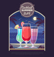 flat style design of cocktail summer bar vector image