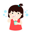happy girl brushing teeth cartoon vector image