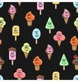 Kawaii ice cream seamless pattern vector image