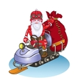 Santa goes on a snowmobile it is lucky people vector image