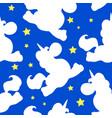 white unicorn pattern on blue vector image