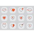 12 Heart icon black orange vector image