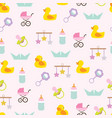 seamless pattern of baby icons and symbols vector image