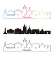 rosario skyline linear style with rainbow vector image