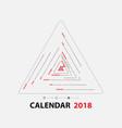 2018 calendar templatetriangle shape vector image