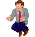 Cartoon man in blue pants and red tie vector image vector image
