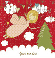 Red Christmas Card with Angel vector image vector image