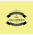 Halloween logo sign with ribbons and curls vector image