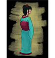 Hand drawn geisha set vector image