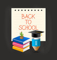 graduation cap pencil book and cactus over paper vector image
