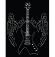 guitar and wings vector image