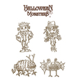 Halloween Monsters spooky characters set EPS10 vector image