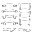 Sketch set of ribbons and scrolls vector image