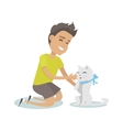 Playing with Pet in Flat Design vector image