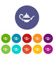 teapot icons set flat vector image