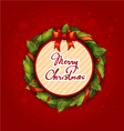 Merry Christmas Creative label with wreath on red vector image