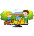 Two boys at the camp ground vector image vector image